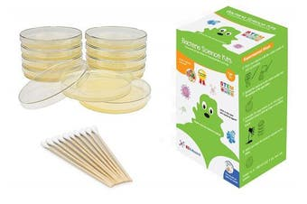 EZ BioResearch Bacteria Science Kit (IV) (Gift Pack): Prepoured LB-Agar Plates And Cotton Swabs. Exclusive Free Science Fair Project E-Book Packed With Award Winning Experiments. (IV Gift Pack)
