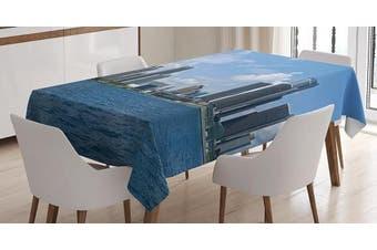 (130cm  W By 180cm  L, Multi 1) - Detroit Decor Tablecloth by Ambesonne, Downtown Detroit GM Renaissance Centre Ford Auditorium Shoreline, Dining Room Kitchen Rectangular Table Cover, 52 W X 70 L Inches, Light Blue White Grey
