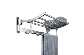 Candora® Stainless Steel Wall Mounted Bathroom Towel Rack Brushed Towel Shelf towel holder Hotel Rail Shelf Storage Holder For the Bathroom (Size:40 * 25 * 10 CM)
