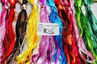 (100pcs) - 2500 Silk Art China Natural 100% Mulberry Silk Floss Handmade Embroidery Woven Jewellery Threads DIY Kits 100 Colours 200m SIX001 (100pcs)