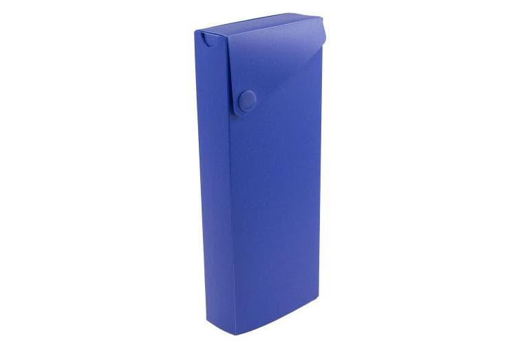 (Slide Case, Blue) - JAM Paper Pencil Cases - Sliding Pencil Case with Button Snap - Blue - Sold Individually