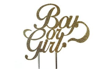 Handmade Gender Reveal Cake Topper Decoration - Boy or Girl - Made in USA with Double Sided Gold Glitter Stock