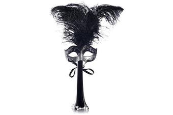 Black Masquerade Party Centrepiece - Includes a 30cm Tall Black Glass Vase, 3 Black Feathers and a Black Mask