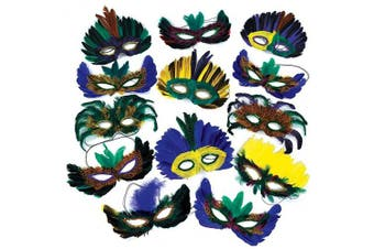 1 Dozen Fantasy Feather Masks 12 Assorted Styles, Masquerade Masks for Mardi Gras Party Favours, By 4E's Novelty,