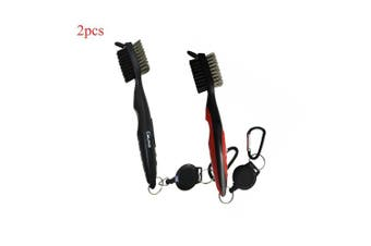 (black+red) - Calunce Golf Brush and Divot Groove Spike Tool 2 Fit Retravtable Zip-line Aluminium Carabiner ,Easily Attaches to Golf Bag