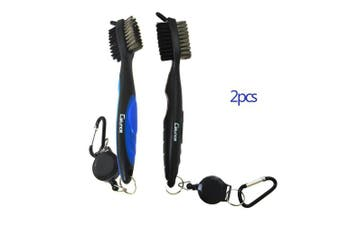 (black+blue) - Calunce Golf Brush and Divot Groove Spike Tool 2 Fit Retravtable Zip-line Aluminium Carabiner ,Easily Attaches to Golf Bag
