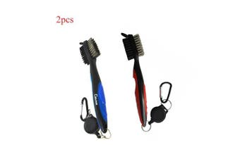 (red+blue) - Calunce Golf Brush and Divot Groove Spike Tool 2 Fit Retravtable Zip-line Aluminium Carabiner ,Easily Attaches to Golf Bag