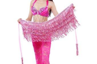 (One size, Light Pink) - Best Dance Zumba Belly Dance Costume Sequin Tassel Fringe Hip Scarf Belt Waist Wrap Skirt