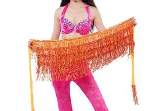 (One size, Orange) - Best Dance Zumba Belly Dance Costume Sequin Tassel Fringe Hip Scarf Belt Waist Wrap Skirt