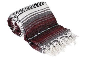 (Burgundy) - Canyon Creek Authentic Mexican Yoga Falsa Blanket (Burgundy)