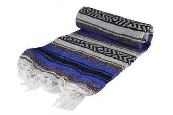 (Dark Blue) - Canyon Creek Authentic Mexican Yoga Falsa Blanket (Dark Blue)