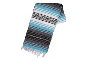 (Turquoise) - Canyon Creek Authentic Mexican Yoga Falsa Blanket (Turquoise)
