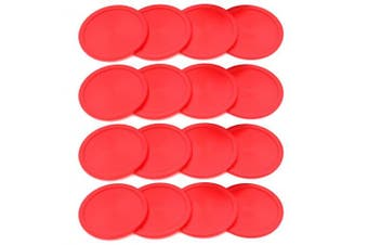 16PCS Amersumer 6.4cm Home-sized Red Air Hockey Replacement Table Pucks For Game Tables, Equipment, Accessories. (Red)
