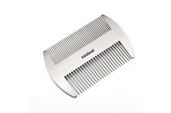 Airisland Dual Action Stainless Steel Eau De Cologne Credit Card Size Comb Wallet Comb Pocket Comb Anti-Static Hair Comb Beard Moustache Comb for Man