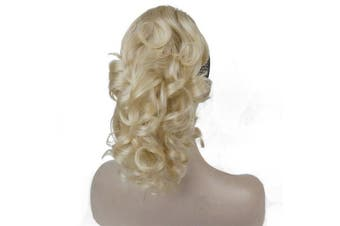 (#613-Pale Blonde) - Aimole Synthetic Short Curly Ponytail Clip In Hair Extensions(613-Pale Blonde)