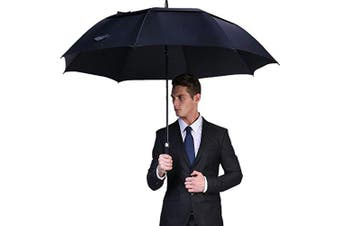 (160cm , Navy Blue) - G4Free 54/2.3cm Automatic Open Golf Umbrella Extra Large Oversize Double Canopy Vented Windproof Waterproof Stick Umbrellas