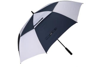 (160cm , Navy/White) - G4Free 54/2.3cm Automatic Open Golf Umbrella Extra Large Oversize Double Canopy Vented Windproof Waterproof Stick Umbrellas