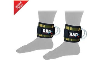 (camo green) - 2Fit Ankle Strap D-Ring Cuffs Workout Cuff Straps Cable Machine Double Ring Lifting Attachment Multi Gym Leg Thigh Pulley Weightlifting D-Ring