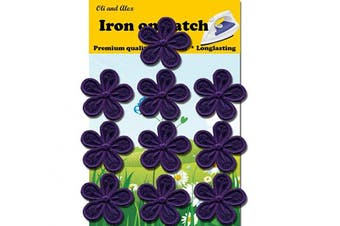 (15 White (2,5x2,5cm)) - A-120, 10 Purple Flower Iron On, Embroidered, Decorative Patches, Fashion Set (Purple)