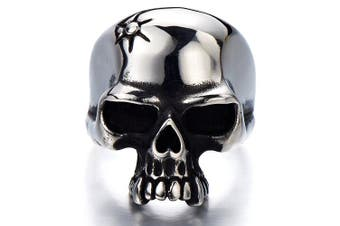 (S) - Stainless Steel Mens Gothic Biker Jewellery Skull Ring Oxidised Black 29mm Size 9 to 13.5