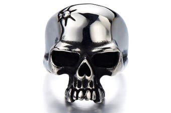 (U) - Stainless Steel Mens Gothic Biker Jewellery Skull Ring Oxidised Black 29mm Size 9 to 13.5