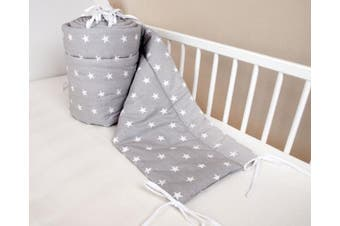 (360x30cm) - Amilian® Baby Cot Bumper Wrap Around Protection For Baby's Bed With Head Guard 100% hypo-Allergenic 100% Cotton Breathable and non-toxic materials Anti-allergic Star Print Grey Available In 3 Sizes (420 cm x 30 cm) (360 cm 30 cm) (180 cm x