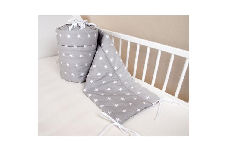 (420x30cm) - Amilian® Baby Cot Bumper Wrap Around Protection For Baby's Bed With Head Guard 100% hypo-Allergenic 100% Cotton Breathable and non-toxic materials Anti-allergic Star Print Grey Available In 3 Sizes (420 cm x 30 cm) (360 cm 30 cm) (180 cm x