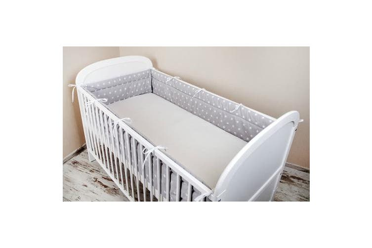 (180x30cm) - Amilian® Baby Cot Bumper Wrap Around Protection For Baby's Bed With Head Guard 100% hypo-Allergenic 100% Cotton Breathable and non-toxic materials Anti-allergic Star Print Grey Available In 3 Sizes (420 cm x 30 cm) (360 cm 30 cm) (180 cm x