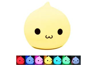 (A face) - BestFire Portable Silicone LED Multicolor Night Lamp,Battery Powered Children Night Light with Warm White & 7-Colour Breathing Dual Light Modes, Sensitive Tap Control for Baby Adults Bedroom (A)