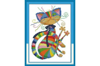 """(Colorful Cat) - eGoodn Stamped Cross Stitch Kits Printed Pattern - Colourful Cat 11CT Fabric 12.6"""" x 16.5"""", Embroidery Art Cross-Stitching Needlework, Frameless"""
