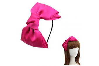(Hot Pink) - Women 20cm Super Big Bows Hairstyle Hair Hoop Silky Fabric Hair Bows HeadBand for Girls Teens (Hot Pink)