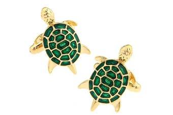 Covink® Men's Unique Green And Gold Little Turtle Tortoise Cufflinks