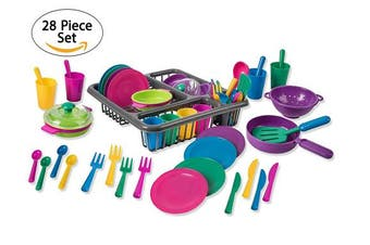 Big Mo's Toys Pretend Play Dishes Playset – Little Chef Set, Kids Serving Dishes - Play Cups, Cutlery, Ladle, Tableware, Pots and Dish Drainer, Set of 28