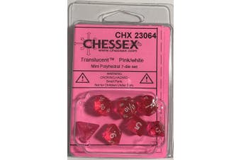 Pink Transparent Mini 10mm (3/8in) Dice Set of 7 Chessex