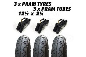 3 X Pram Tyres & 3x Tubes 12 1/2 X 2 1/4 Mountain Buggy Urban Jungle Duo +one