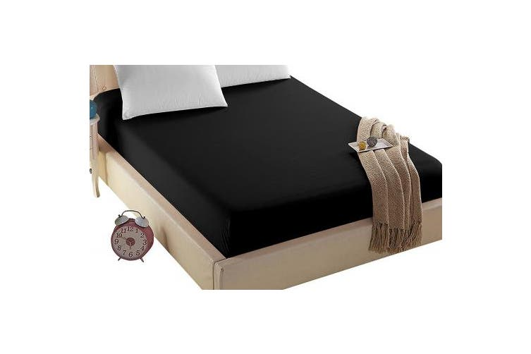 (Twin-XL, Black) - 4U Life Bedding Fitted sheet-Prime 1800 Series , Double Brushed Microfiber,Ultra-soft Feel And Wrinkle,Fade Free , Deep Pocket For Oversized Mattress (Twin-XL, Black)