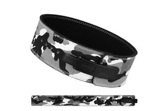 (Gray Camo, X-Large 90cm  - 110cm ) - BS Weight Power Lifting Leather Lever Pro Belt Gym Training Powerlifting Camo