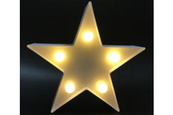 Star White 3d Star Light Led Plastic Star Shaped Sign Lighted Marquee Star Sign Wall Decor For Chistmas Birthday Party Kids Room Living Room Wedding Party Decor Romantic Deco Lamp Night Table Light White Matt Blatt