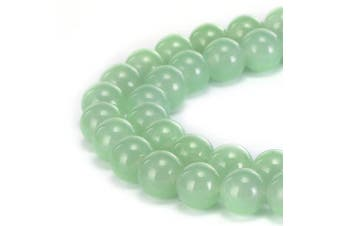 (8mm, Light Green Jade) - BRCbeads Gorgeous Natural Light Green Jade Gemstone Smooth Round Loose Beads 8mm Approxi 15.5 inch 45pcs 1 Strand per Bag for Jewellery Making