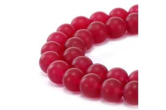 (4mm, Fushia Jade) - BRCbeads Gorgeous Natural Fushia Jade Gemstone Smooth Matte Round Loose Beads 4mm Approxi 15.5 inch 88pcs 1 Strand per Bag for Jewellery Making