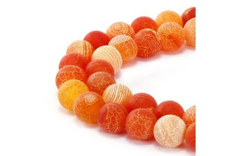 (8mm, Orange Frosted Agate) - BRCbeads Gorgeous Natural Orange Frosted Agate Gemstone Smooth Matte Round Loose Beads 8mm Approxi 15.5 inch 45pcs 1 Strand per Bag for Jewellery Making