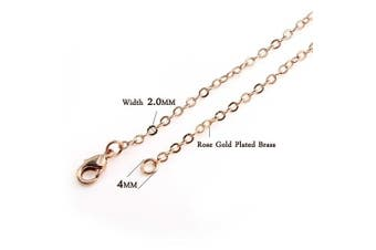 """(26""""(2.0MM)) - Wholesale 12PCS Rose Gold Plated Solid Brass Flat Cable Chains Fine Chain Bulk for Jewellery Making 18-30 inch (26""""(2.0MM)"""
