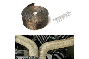 10m Titanium Car Motorcycle Exhaust Manifold Downpipe Heat Wrap Roll + 10pcs