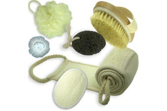 complete bath set of dry skin brush, shower pouffe, loofah back scrubber and loofah sponge pads, volcanic stone and elastic shower caps (set of 6)
