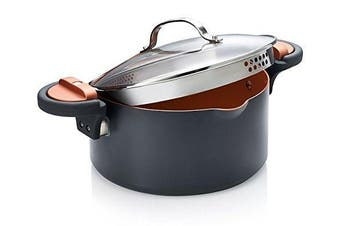 (4.7l, Gray) - Gotham Steel Pasta Pot with Patented Built in Strainer with Twist N' Lock Handles, Nonstick Ti-Cerama Copper Coating by Chef Daniel Green, 4.7l