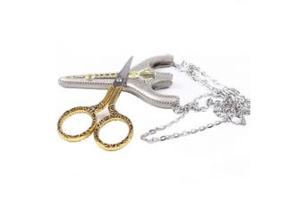(Gold) - BIHRTC Stainless Steel Sharp Tip Sewing Snips Thread Cutter Safety Scissors with Sheath Chain for Embroidery, Sewing, Craft, Art Work & Everyday Use (Gold)