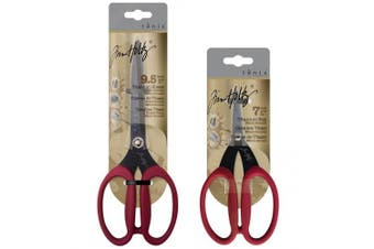 Tim Holtz Micro-Serrated Titanium Shears & Snips Scissor Set, 9.5 Double Bevelled Titanium Shears & 7.5 Titanium Snips