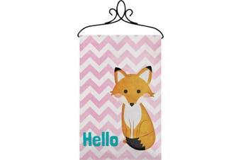 Manual Hello Fox Chevron Nursery Wallhanging Bannerette w/ Rod SWHFOX 46cm x 33cm Pink White Blue Brown