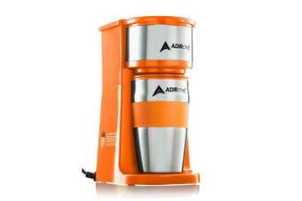 (Orange) - AdirChef Grab N' Go Personal Coffee Maker with 440ml Travel Mug (Orange)