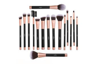 (Rosegold) - Anjou Makeup Brush Set, 16pcs Premium Cosmetic Brushes for Foundation Blending Blush Concealer Eye Shadow, Cruelty-Free Synthetic Fibre Bristles, PU Leather Roll Clutch Included, Rose Golden
